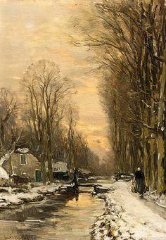 laclefdescoeurs:  A Figure Walking along a Waterway in Winter, Louis Apol