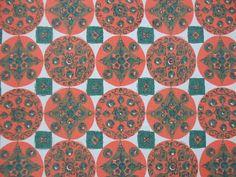 Fabulous vintage/retro barkcloth green & orange furnishing/curtain fabric