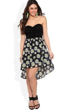 Deb Shops Strapless High Low #Dress with Daisy Print Skirt $19.74