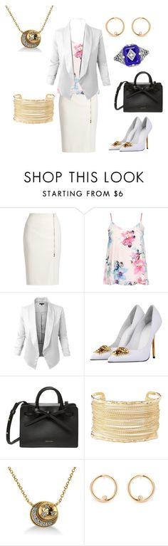 """Caroline Forbes Work"" by popey3 ❤ liked on Polyvore featuring MaxMara, Dorothy Perkins, Versace, Charlotte Russe, Allurez and Lazuli"