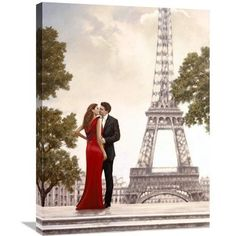 Global Gallery 'Romance in Paris I' by John Silver Painting Print on Wrapped Canvas Size: