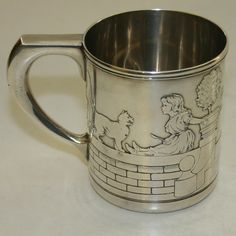 Tiffany Sterling Silver Child/Baby Mug or Cup Dog & Cat