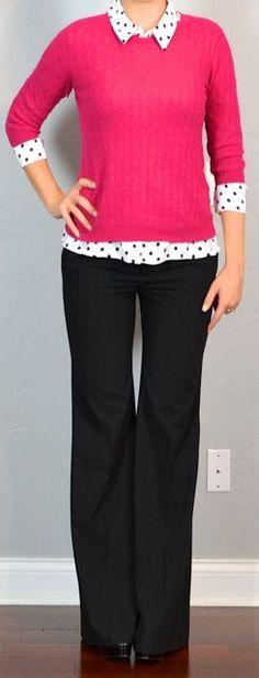 pink cardigan with black white polka dot top | Pink sweater, polka dot top, black pants