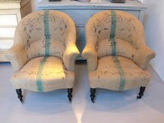 French grain sack chairs Living room Whitewashed Cottage chippy shabby chic french country rustic swedish decor idea.  *** Repinned from Jennifer Zuri ***.
