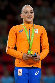 Gold medalist Sanne Wevers of the Netherlands celeberates on the podium at the medal ceremony for the Balance Beam on day 10 of the Rio 2016 Olympic Games at Rio Olympic Arena on August 15, 2016 in Rio de Janeiro, Brazil.