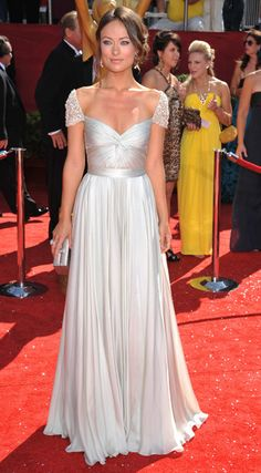 Olivia Wilde in a gorgeous white Reem Acra gown with jewel-encrusted cap sleeves at the 2008 Primetime Emmy Awards