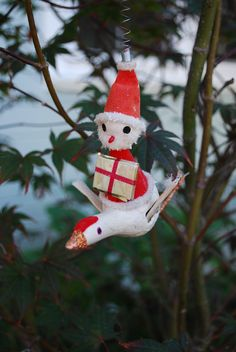 Antique Paper Mache, Chenille and Spun Cotton Santa flying White Goose, from Japan.