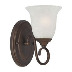 Millennium Lighting 5-in W 1-Light Rubbed Bronze Arm Hardwired Wall Sconce. For stairway.