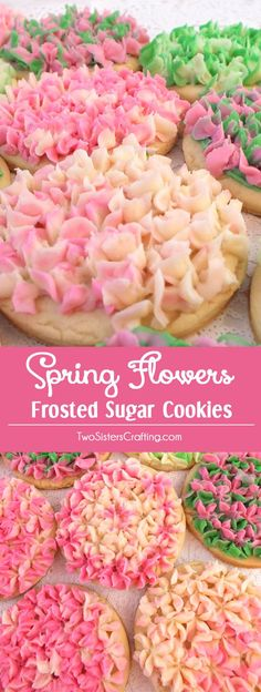 Spring Flowers Frosted Sugar Cookies - so beautiful and so delicious. They make a perfect Easter Dessert, Mother's Day Cookie, Baby Shower Treat or anytime you need to bring something special to a party. And they are WAY easier to make then you might think! We have step by step instructions. Follow us for more great Easter Treat ideas.