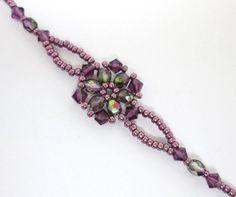 Amethyst flower bracelet floral bracelet by AquaStudioDesigns - Bracelets Jewelry Beaded Jewelry Designs, Seed Bead Jewelry, Bracelet Designs, Unique Jewelry, Handmade Jewelry, Jewelry Findings, Beaded Bracelets Tutorial, Beaded Bracelet Patterns, Beaded Necklace