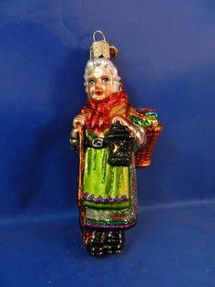 Italy Italian Good Witch La Befana Old World Glass Christmas Ornament NWT 10208