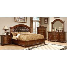 Furniture of America Vayne II 4-Piece Traditional Cherry Bedroom Set
