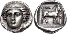 Tetradrachm from Ainos, Thrace c. 382 - 379 BC Sold for $47,500 Head of Hermes facing slightly left, wearing petasos. On the reverse, a goat standing right; AINION above; trophy to right; all within...