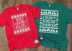 Burlap Christmas Tree, Christmas Sweaters, Couple Tee Shirts, Christmas Vacation, Christmas Parties, Green Tee, Small Town Girl, Girls Tees, Carpet