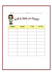 Printables Sink Or Float Worksheet worksheets first grade and sinks on pinterest sink or float worksheet