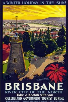 We love this vintage poster of our wonderful Brisbane! Trompf, Percy, A winter holiday in the sun! [picture] : Brisbane river city of the north Posters Australia, Australian Vintage, City Drawing, Tourism Poster, Kunst Poster, Australia Travel, Brisbane Australia, Iconic Australia, Vintage Travel Posters