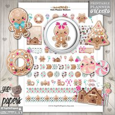 Gingerbread Stickers, Kawaii Stickers, Planner Accessories, Christmas Stickers, Printable Stickers, Christmas Planner Stickers