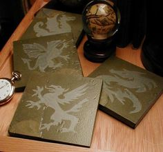 DRAGONS+COASTERS+SET++Carved+Natural+Slate+by+BlythHouseCreations,+$29.50