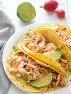 Fish Tacos with Chipotle Lime Crema. Made with a bright and creamy chipotle lime crema made with greek yogurt and lime juice these Fish Tacos take only 15 minutes to make! Crock Pot Recipes, Cooking Recipes, Healthy Recipes, Smoker Recipes, Cooking Games, Free Recipes, Cooking Tips, Easy Recipes, Cooking Steak