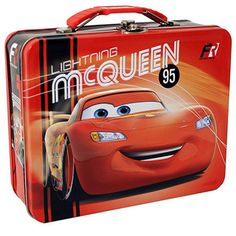 This is a Lightning McQueen themed Cars lunch box. In this particular Cars lunch box, Lightning McQueen has the spotlight all to himself. Very cool for the Cars