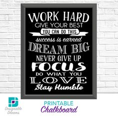 Work Hard Chalkboard Wall Art