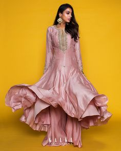 Dress floor length Beautiful Satin-Silk Dress with hand embroidery work. Indian Dresses, Indian Outfits, Indian Clothes, Beautiful Gowns, Beautiful Outfits, Dresses For Teens, Nice Dresses, Indowestern Gowns, Angrakha Style