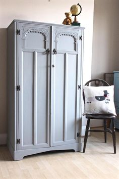 This lovely small vintage wardrobe has been hand painted in Fussion paint - Little Lamb. Height 154