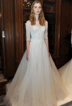 Off-the-Shoulder, A-line Wedding Dress | Marchesa Fall 2015 Wedding Dresses |Maria Valentino/MCV Photo | Blog.TheKnot.com