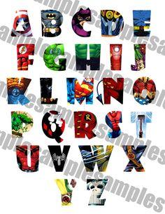 SUPERHERO Alphabet Clipart Printable, Font, Alphabet Letters - Spiderman…
