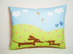 Dachshund Pillow  Mama and Baby Doxie in the by persnicketypelican, $18.00