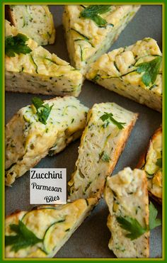 Zucchini parmesan bites. A great way to use up summer bounty. Great for snacking or can be used as an appetizer.