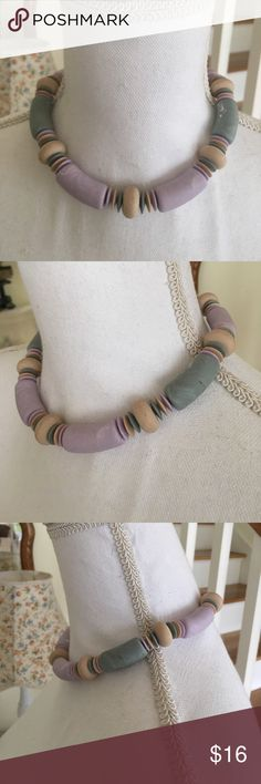"""90s Chunky Pastel Clay Bead Choker This fun and playful choker is straight out of the 90s. Features pastel purple, green and tan clay like beads and clasp closure. Length: 16.75"""". Jewelry Necklaces"""