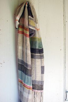 Goose Eye Handwoven Hemp Scarf by avalanchelooms on Etsy