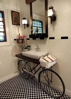 bike used as bathroom counter table