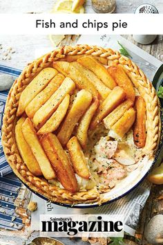Transport yourself to the seaside with our twist on the classic British takeaway — a pastry base with a creamy fish pie filling, topped with golden chips. Get the Sainsbury's magazine recipe Pie Recipes, Seafood Recipes, Creamy Fish Pie, Blue Cheese Potato Salad, Creamy Mash, Childrens Meals, Sticky Toffee Pudding, Potato Skins