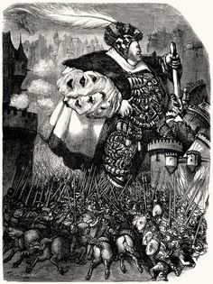 """""""...and with great blows, knocked down towers and fortresses, and razed everything to the ground"""" by Gustave Doré, from Œuvres de François Rabelais (Works of François Rabelais), Paris, 1854 