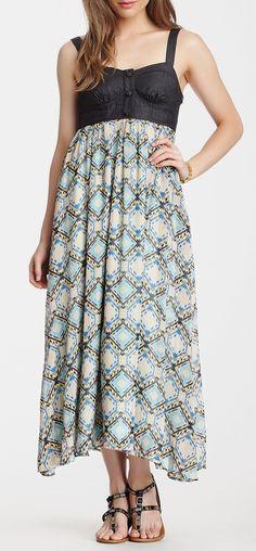 Sleeveless Long Print Dress