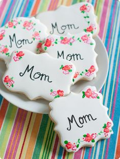 painted rose decorated cookies ... perfect for Mother's Day! @Bridget edwards {bake at 350}