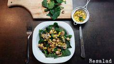 #resalad #spinach  Σαλάτα με σπανάκι, κρουτόν, μανιτάρια και καλαμπόκι