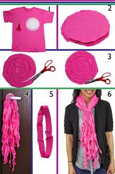 DIY: cómo hacer un original foulard con tiras rizadas de camisetas recicladas
