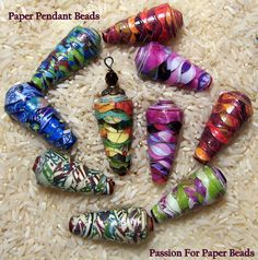 Handmade Paper Pendant Beads ❤ by PassionForPaperBeads on Etsy by francis Paper Quilling Jewelry, Paper Bead Jewelry, Fabric Jewelry, Make Paper Beads, How To Make Beads, Paper Beads Tutorial, Paper Beads Template, Bead Crafts, Jewelry Crafts