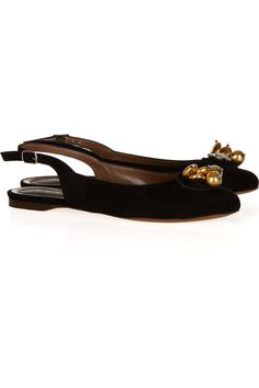 Marni Embellished suede ballet flats - 60% Off Now at THE OUTNET
