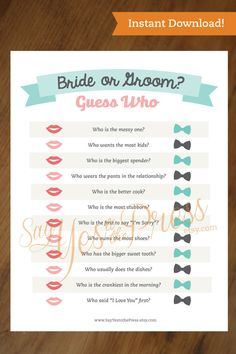 GUESS WHO! BRIDE OR GROOM - Bridal Shower game. This is an INSTANT DOWNLOAD. SIZE: 8.5 X 11  After purchase, a pdf file will automatically