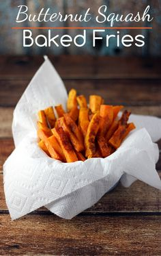 "Baked Butternut Squash Fries Recipe - Homemaking Hacks-Ingredients  1 Large Butternut Squash 4 Tsp. Olive Oil 1/4 Tsp. Sea Salt Instructions  Pre-heat oven to 400° F. Peel and remove seeds from one large butternut squash. Cut into even ""fries"". Toss in olive oil and sea salt. Spread out on lightly oiled baking sheet. Bake for 20-30 depending on size of your squash. Turn squash several times to ensure that each side gets lightly browned. Enjoy!"