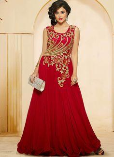 Red Georgette Indowestern Gown With Zari Work
