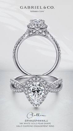 Designed to hold a 1 carat pear shaped center stone, this 14K white gold setting is a truly elegant piece of jewelry. Two diamond encrusted bands crisscross over each other to form the shank on this setting, providing the perfect finishing touch to this stylish engagement ring. ER14425P4W44JJ#GabrielNY #UniqueJewelry #EngagementRings #WhiteGoldEngagementRings #PearShapedEngagementRing #HaloEngagementRings