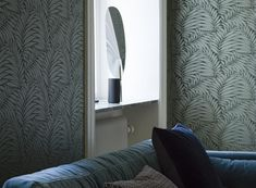 The wallpaper pattern Myfair from Engblad & Co Myfair from Lounge Luxe is a green dark wallpaper in plantsstyle Lounges, Made To Measure Curtains, Design Repeats, Decorating Supplies, Helsingborg, Dark Wallpaper, Gray Sofa, Sit Back And Relax, Metallic Colors