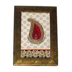 Red Ambi Motif Key Holder with  3 Hook - FOLKBRIDGE.COM   Buy Gifts. Indian Handicrafts. Home Decorations.