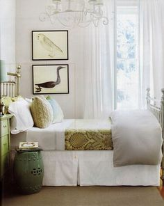 Beautiful Bedroom.Would be a great guest room. Garden seat as nightstand