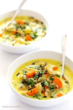This Curried Chicken and Wild Rice Soup recipe is easy to make, nice and creamy, perfectly (and fairly lightly) spiced, naturally gluten-free, and SO good.   gimmesomeoven.com